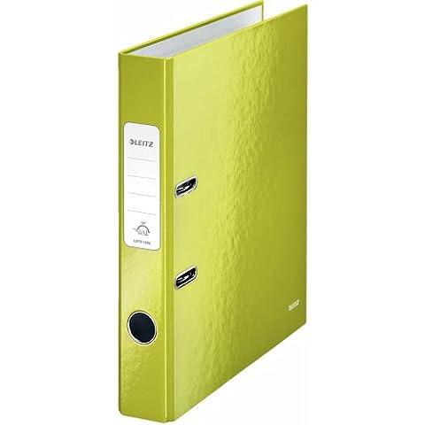 Leitz 10060064 Qualitäts-Ordner (A4, 5,2 cm Rückenbreite, graupappe mit laminierter Oberfläche, WOW) grün glänzend