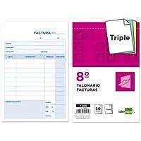 Liderpapel - Talonario facturas 8º original y 2 copias t300 con i.v.a. (5 unidades)