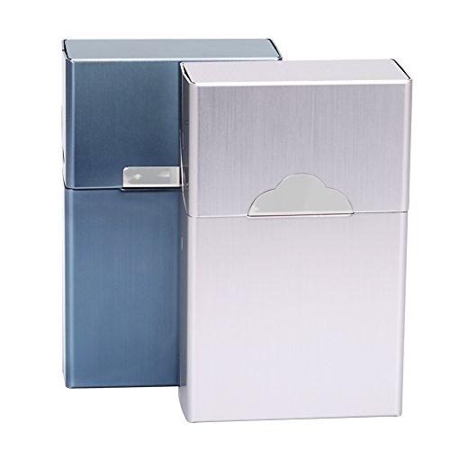 Vpcok Portasigarette metallo Sigarette Scatola Coperchio Magnetico Pacchetto Portasigarette Alluminio leggero sigaretta Box sigarodi(Argento,grigio+blu)
