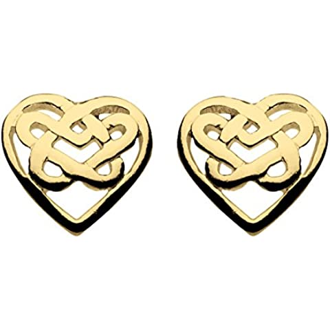 Heritage-Collana in argento Sterling placcata in oro a forma di cuore e orecchini a perno con motivo a nodo