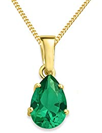 Miore Necklace - Pendant Women Yellow Gold 9 Kt/375 Emerald Chain 45 cm