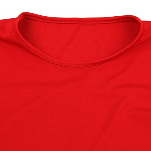 QIYUN.Z Femmes 2 Patchwork Couleur 3/4 Manches Au-Dessus De La Robe De Travail Au Genou Décontracté Rouge Et Noir