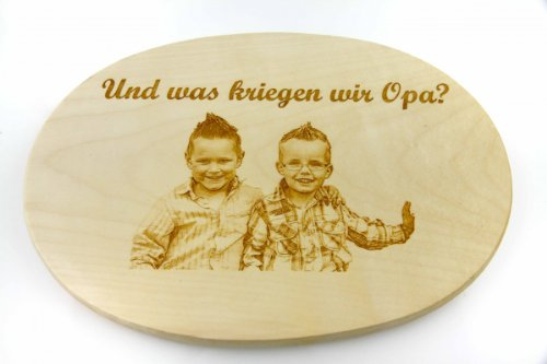 Schinkenteller Ahorn oval 26 x 18 cm mit Ihrem Foto graviert -