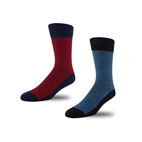 Image of STÓR Men's Socks (2-Pack) Bamboo Antibacterial Designer Calf Socks Breathable Soft Socks Active Antifungal Mini Stripe/Mini Stripe (Large (43-46EU / 9-12UK), Red-Blue)