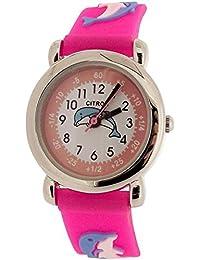 Citron analógico niños tiempo profesor diseño de delfines rosa correa de silicona reloj kid17