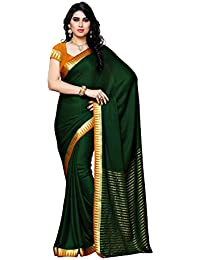 Mimosa Women's Crepe Saree With Blouse Piece (2121-Bgrn-Mst,Bottle Green,Free Size)