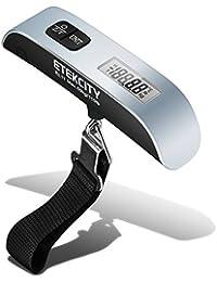 Etekcity Bilancia Digitale Pesa Bagaglio Valigie 50kg/110lb con Sensore di Temperatura, Con Funzione Zero e Tare,Batteria Inclusa,D'argento e Nera