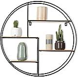 Intimo Living Mensola da Muro Rotonda con 4 Ripiani - Legno e Metallo
