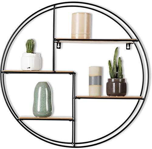 Intimo Living Runde Wandregal Bücherregale mit 4 Böden - aus Holz und Metall -