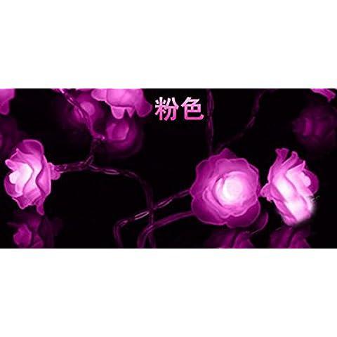 LED String Fata luci ambiente stellato illuminazione esterna per case Natale Decorazioni Patio LED luci fairy rose lampada ,Plug pink Flash 10 metri 100 ROSES
