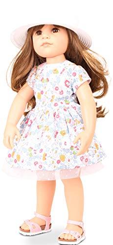 Götz Puppe Hannah Summertime – 50 cm große Stehpuppe, braunes Haar, braune Augen, Spielzeug für Mädchen ab 3 Jahren (7-teiliges Set)