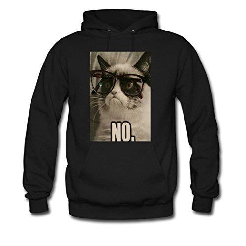 HGLee Printed Personalized Custom Cat Wearing Glasses Women's Hoodie Hooded Sweatshirt Black