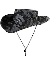 Unisex Sombrero algodón Fischer Sombrero con Correa de Barbilla Plegable  Verano Sombrero Ancho el ala Bucket de3424c594c
