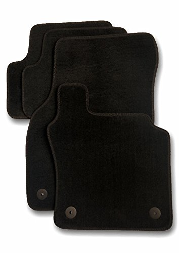 J.R. Tailor Fit Car Mat Set, Standard Black with Black Striped Trim