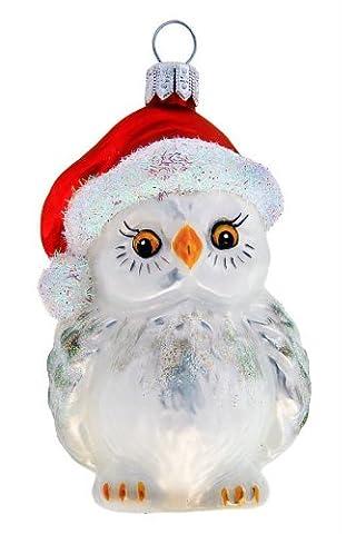 Hamburger Weihnachtskontor - Weihnachtsbaumschmuck aus Glas -Schnee-Eule rote Mütze