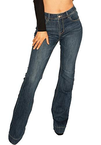 f880b23cb Cindy H Paris Jean Bootcut Taille Normale pour Femme Denim Stretch Jean  Long - Bleu Foncé - 38