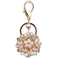 Kissweet Fashion Hollow Little Daisy Flower Ball Keychain Bag Pendant Charms Car Keyring Purse (Pink)