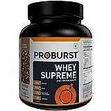 Proburst Supreme Whey Protein Powder With Glutamine & BCAAs 1 Kg |28 Servings |24 gm Protein Per Serving -Coffee