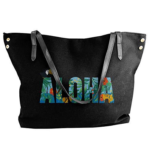 -1 Schultertasche Bag Aloha Hawaiian Flower And Toucan Canvas Schultertasche Bag Casual Handbag For Women Black ()