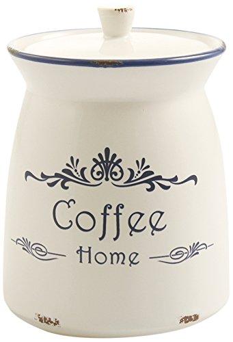 Villa d'Este Home Tivoli Boîte à café rustique en grès - Blanc Pot pour café Bianco
