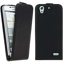 kwmobile Funda para Huawei Ascend G630 - Flip Case para móvil en cuero sintético - Cover plegable negro