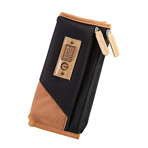 Hacoly Einfach mäppchen mädchen Junge Leinwand Federmäppchen Student Reißverschluss Briefpapier Pouch Pencil Case mit 3 Taschen Für Studenten Beginne mit der Schule Wählen Sie - -