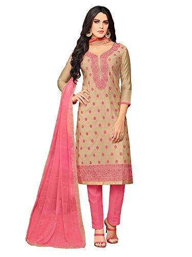 Applecreation silk cotton dress material with Chiffion Work dupatta (dress materials for...