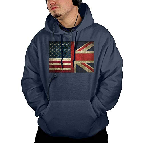 BQJ Apparel American Flag and British Flag Men's Casual Classic Hooded Sweatshirt with Pocket Navy Small