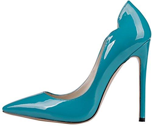 Calaier Femme Capainting 11CM Aiguille Glisser Sur Escarpins Chaussures Bleu