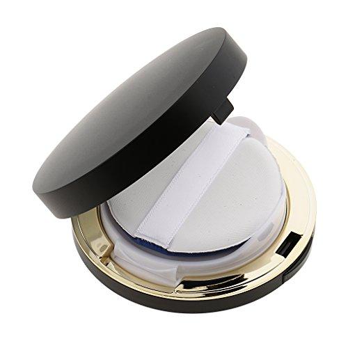 MagiDeal Cas Boîte Boîtier Coussin de Teint Vide Récipient avec Puff Eponge à Contenir Crème BB / Poudre de Fondation / Blush - Pratique à Transporter - Noir