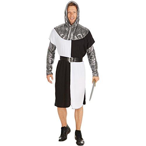 dressforfun Disfraz de Caballero Medieval para Hombre | Camisa de Manga Larga con Mangas y Capa con Capucha en Óptica de Metal y un Cinturón (XXL | No. 301239)