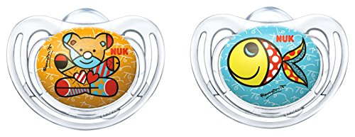 NUK 10177084 Romero Britto Freestyle Silikon-Schnuller mit Ring, kiefergerechte, 18-36 Monate, BPA, 2 Stück, Farbe nicht wählbar, mehrfarbig