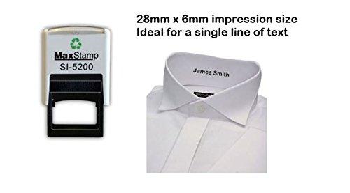 Namensstempel für Kleidung, personalisierbar–schwarze Farbe–bis zu 2Zeilen, 28x 6mm - Pe-uniformen