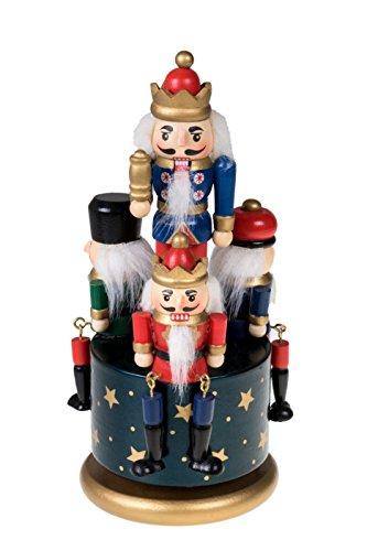 Traditionelle Spieldose zum Aufziehen mit Nussknacker-Königen und -soldaten - aus Holz - festliche Weihnachtsdeko - ideal für Regale und Tische - blau, rot, goldfarben und grün - 20,3 cm