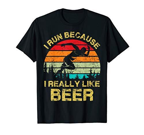 Beer Drinking T-shirt (I Run Because I Really Like Beer Vintage T-Shirt)