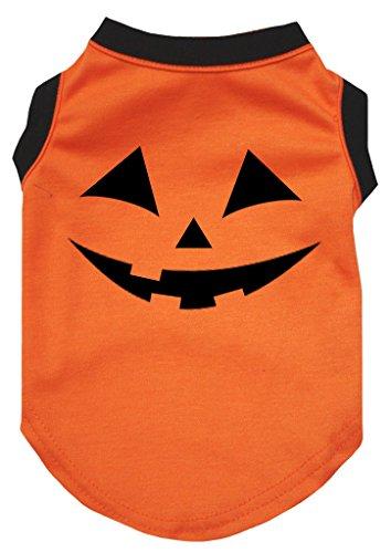 eidung Hund Kleid Kürbis Gesicht orange Baumwolle T-Shirt (Halloween-kürbis-gesichter, Fotos)