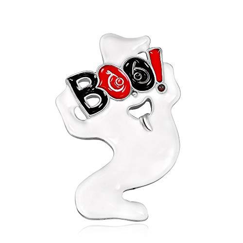 Gudelaa Halloween Brosche Weiß Cartoon Ghost Text Brosche Party Kostüm Legierung Brosche Damen Brosche