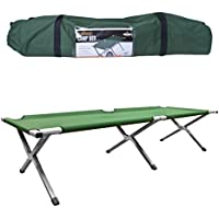 Milestone Camping 20260 Aluminium Folding Fishing Camping Bed Sleeping Portable Backpack Tent Outdoor Travel Hiking Hunting Green, H42 x W64 x L189cm