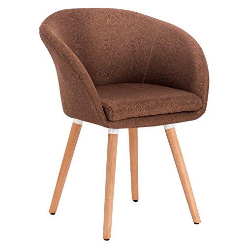 Woltu bh74br-1 poltrona sedia sgabello sofa poltroncina con schienale braccioli stoffa lino gambe legno moderno marrone