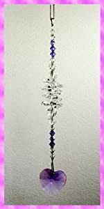 Crystal Window Cascade by Gems'n'Sparkles, with HEART 28mm Pendant, VIOLET