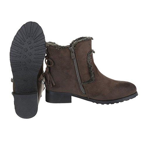 Komfort Stiefeletten Damenschuhe Schlupfstiefel Blockabsatz Blockabsatz Reißverschluss Ital-Design Stiefeletten Braun