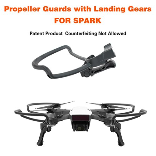 Propeller protectors and extendable gear legs for DJI SPARK Drone RC, black