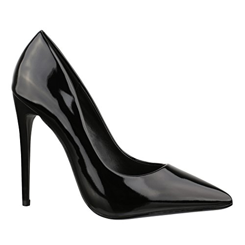 Elara Spitze Damen Pumps | Bequeme Lack Stilettos | Elegante High Heels B-1 Black-40