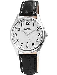 Alain Miller - Reloj de Pulsera analógico para Hombre (Correa de Piel y Mecanismo de