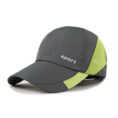 Lightweight Run Baseball Hat Outdoor Sport cap (Sport Series, Deep Gray) (Green Plaid Fedora Hut)