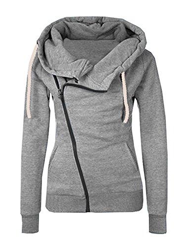 Minetom Frauen Damen Kapuze Pullover Langarm Schräge Zipper Hoodie Cross Ausschnitt Sweatshirt Jacke Outwear Oberteile Grau DE 36 (Top Jersey Blouson)