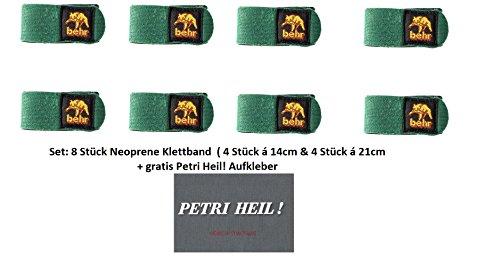 Set: 8 Stück Behr Neopren Rutenbänder Klettbänder 4 Stück 14 cm & 4 Stück 21cm + gratis Petri Heil! Aufkleber