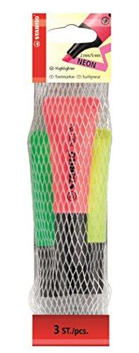 STABILO NEON, gelb/grün/pink, 3er Set - Textmarker