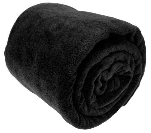 A-Express chaude Noir 225 x 254 cm Grand Doux Confortable Couverture Polaire Polyester Throw Plaid