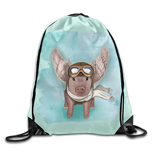 ewtretr Flying Pig with Sungalsses and Scarf Drawstring Backpack Travel Sports Bag Drawstring Beam Port Backpack. Adjustable Unisex Suitable for All Seasons